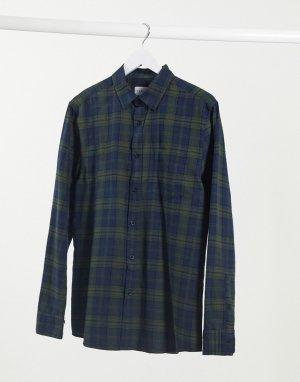 Рубашка в сине-зеленую клетку с длинными рукавами -Мульти Topman