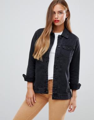 Джинсовая oversize-куртка Ashley JDY. Цвет: черный