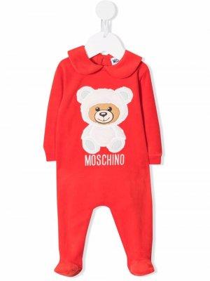 Teddy Bear logo-embroidered romper Moschino Kids. Цвет: красный