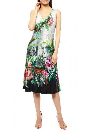 Платье Apanage. Цвет: белый, зелёный, красные цветы