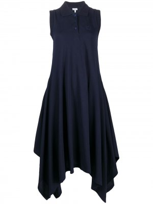 Платье миди Anagram с воротником поло LOEWE. Цвет: синий