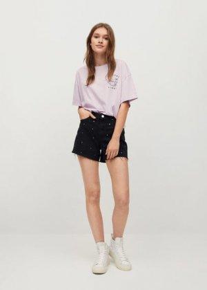 Джинсовые шорты с заклепками - Carli Mango. Цвет: черный деним