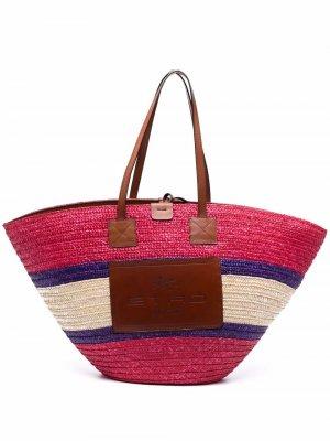 Соломенная пляжная сумка ETRO. Цвет: розовый