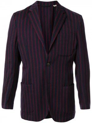 Полосатый пиджак строгого кроя Kent & Curwen. Цвет: синий