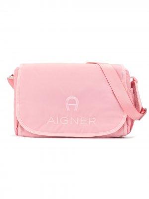 Пеленальная сумка с вышитым логотипом Aigner Kids. Цвет: розовый
