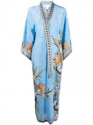 Пальто-кардиган с цветочной вышивкой Camilla. Цвет: синий