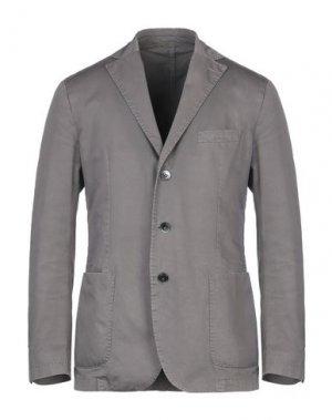 Пиджак LUIGI BIANCHI ROUGH. Цвет: голубиный серый