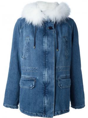 Rabbit fur collar denim jacket Army Yves Salomon. Цвет: синий