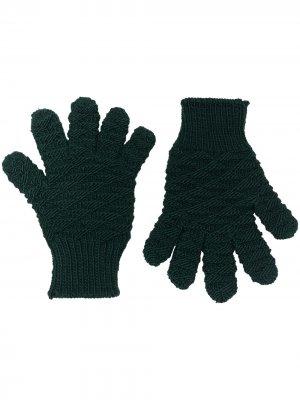 Фактурные перчатки Bottega Veneta. Цвет: зеленый