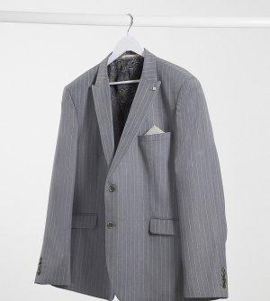 Серый приталенный пиджак в розовую полоску Big & Tall Burton Menswear