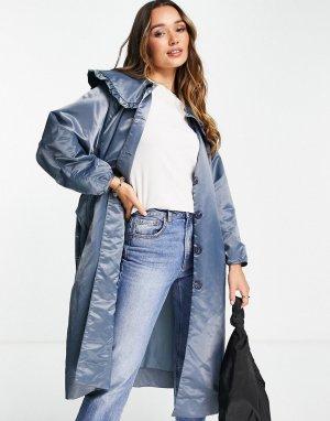 Удлиненное пальто с большим воротником -Голубой Ghospell