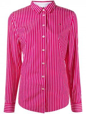 Полосатая рубашка с длинными рукавами Tommy Hilfiger. Цвет: красный