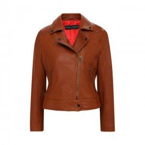 Кожаная куртка Maslov. Цвет: коричневый