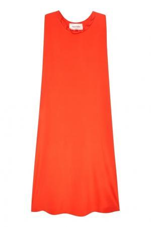Красное платье Valentino. Цвет: оранжевый