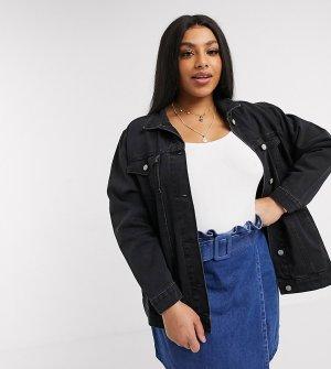 Черная джинсовая куртка -Черный Brave Soul Plus