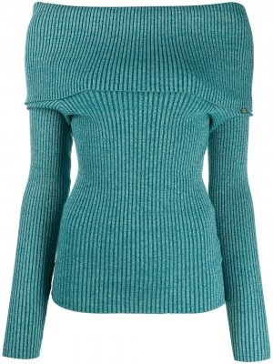 Off-the-shoulder ribbed jumper Elisabetta Franchi. Цвет: синий