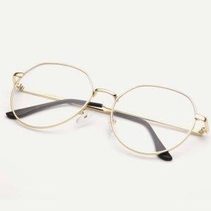 Мужские очки с металлическими оправами SHEIN. Цвет: золотистый