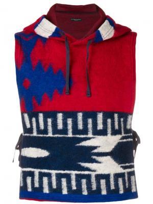 Вязаный жилет с капюшоном Engineered Garments. Цвет: красный