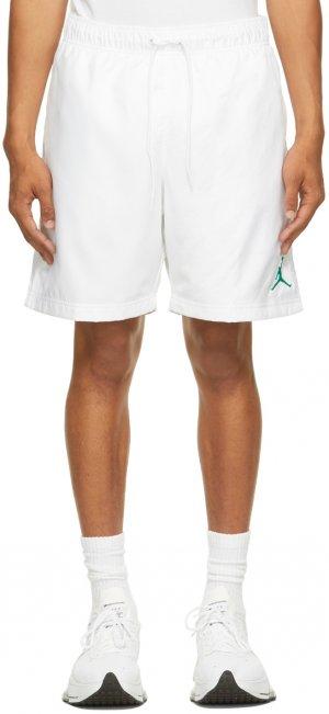 White Jordan Jumpman Poolside Shorts Nike. Цвет: white/black