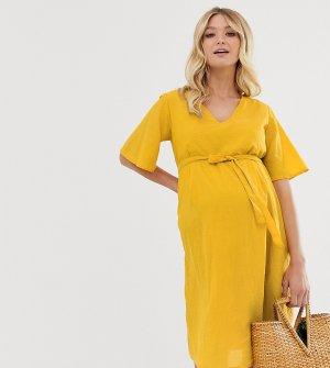 Платье миди с рукавами клеш Mamalicious-Желтый Mama.licious