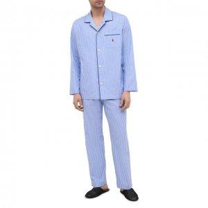Хлопковая пижама Polo Ralph Lauren. Цвет: синий