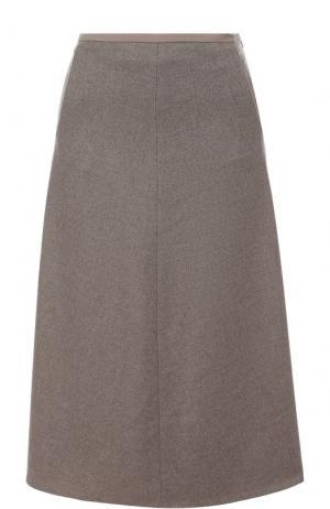 Кашемировая юбка-миди с карманами Loro Piana. Цвет: бежевый