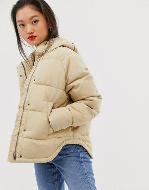 Бежевая дутая куртка с капюшоном Femme-Бежевый Selected