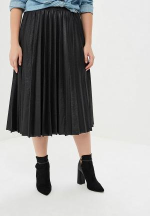 Юбка LOST INK PLUS PLEATED SKIRT IN COATED JERSEY. Цвет: черный