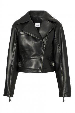 Черная кожаная куртка косуха Burberry. Цвет: черный