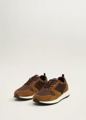 Комбинированные кроссовки из спилка - Runsoft Mango. Цвет: коричневый