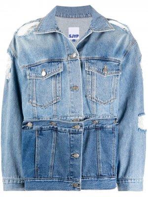 Джинсовая куртка со съемной вставкой SJYP. Цвет: синий