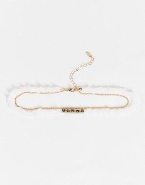 Ярусное ожерелье из искусственного жемчуга и золотистой цепочки-чокера с надписью Amour -Золотистый Liars & Lovers