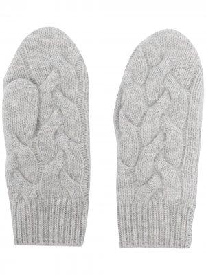 Перчатки из органического кашемира фактурной вязки N.Peal. Цвет: серый