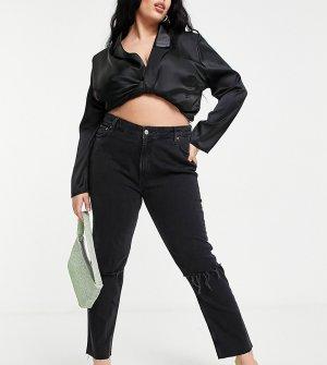 Черные выбеленные джинсы зауженного кроя в винтажном стиле с рваной отделкой и классической талией ASOS DESIGN Curve-Черный цвет Curve