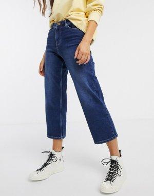 Темно-синие широкие джинсы до щиколотки -Синий Pieces