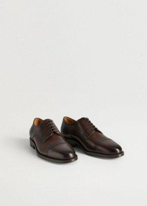 Кожаные туфли блюхеры с перфорацией - Madrid Mango. Цвет: коричневый