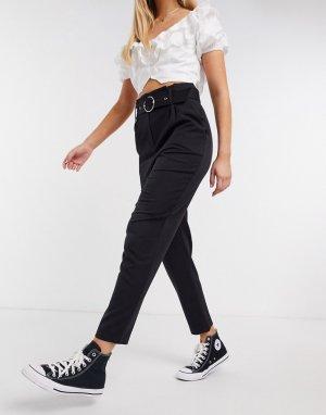 Черные классические брюки с присборенной талией -Черный Miss Selfridge