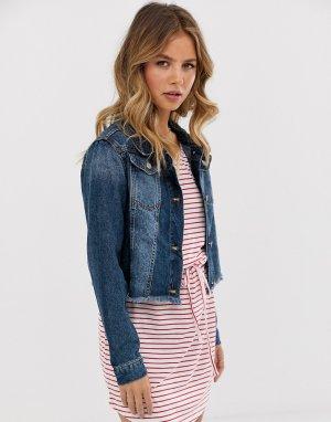 Выбеленная укороченная джинсовая куртка -Синий Brave Soul