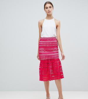Кружевная премиум-юбка миди с баской от комплетка ASOS DESIGNd-Розовый Tall