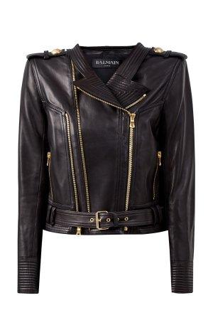 Кожаная куртка из овчины в стиле глэм-рок BALMAIN. Цвет: черный