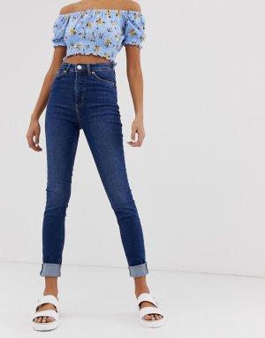 Синие зауженные джинсы из органического хлопка с завышенной талией Monki