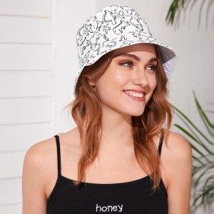 Шляпа с узором динозавра SHEIN. Цвет: белый