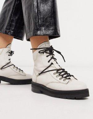 Светлые кожаные походные ботинки -Белый Bronx