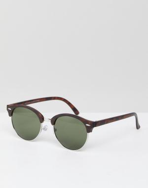 Коричневые круглые солнцезащитные очки -Коричневый New Look