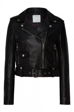 Черная куртка-косуха Sandro. Цвет: черный