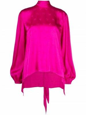 Блузка с объемными рукавами и монограммой Pinko. Цвет: розовый