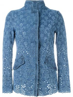 Джинсовая куртка с цветочной вышивкой Ermanno Scervino. Цвет: синий