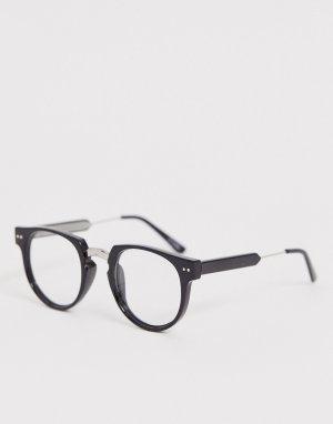 Круглые очки с черной оправой и прозрачными стеклами teddy boy 2-Черный Spitfire