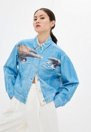 Куртка джинсовая Sportmax CIRINO. Цвет: голубой