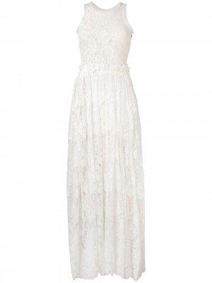 Длинное кружевное платье LANVIN Pre-Owned. Цвет: нейтральные цвета